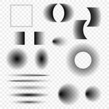 Комплект реалистических теней вектора различных форм на прозрачной предпосылке Элементы дизайна для ваших идей иллюстрация вектора