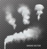 Комплект реалистического дыма, пара на прозрачной предпосылке вектор стоковое фото