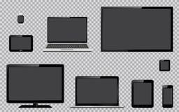 Комплект реалистического ТВ, монитора компьютера, компьтер-книжек, таблетки, мобильного телефона, умного вахты и навигации GPS пр иллюстрация штока
