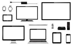 Комплект реалистического ТВ, монитора компьютера, компьтер-книжек, таблетки, мобильного телефона, умного вахты, привода вспышки u бесплатная иллюстрация