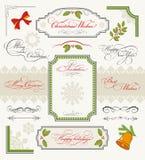 Комплект рождества каллиграфических элементов конструкции Стоковые Фото