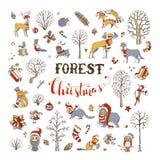 Комплект рождества леса вектора Стоковое Изображение