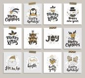 Комплект рождественских открыток Нового Года и Стоковые Изображения