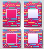Комплект розовое абстрактное геометрического, ретро, рамка вектора Мемфиса, знамя, поздравительная открытка других цветов с форма Стоковая Фотография RF