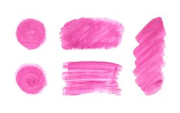 Комплект розовой краски руки пятна, бургундские округлые формы, малиновый прямоугольник, нашивки, круги, линии изолированные на б иллюстрация вектора