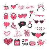Комплект розовых значков валентинки иллюстрация штока