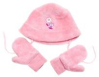комплект розы mittens шлема младенца Стоковое Фото