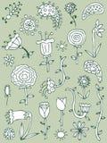 комплект руки 2 вычерченных элементов флористический иллюстрация штока