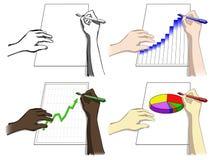 Комплект рук, сочинительство, чертеж diagrams Стоковые Фото