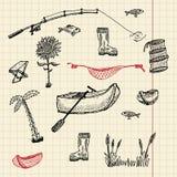 Комплект рыболовства эскиза бесплатная иллюстрация