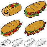 комплект сандвича шаржа иллюстрация вектора