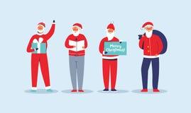 Комплект Санта Клауса рождества Милые плоские характеры зимних отдыхов Счастливая поздравительная открытка Нового Года с Сантой и бесплатная иллюстрация