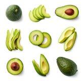 Комплект свежего всего и отрезанного авокадоа Стоковое Фото