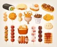 Комплект свежих очень вкусных ед из закусочных от азиатских улиц разнообразие  иллюстрация штока
