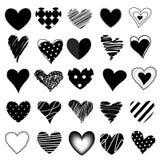 Комплект сердец и иллюстрации вектора Стоковые Изображения RF