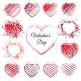 Комплект 13 сердец нарисованных рукой Стоковые Изображения RF