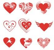 комплект сердец 9 иллюстрация вектора