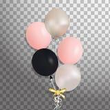 Комплект серебра, сини, зеленого воздушного шара гелия в воздухе Замороженные воздушные шары партии для дизайна события Украшения Стоковые Изображения
