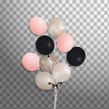 Комплект серебра, сини, зеленого воздушного шара гелия в воздухе Замороженные воздушные шары партии для дизайна события Украшения Стоковые Фото