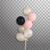 Комплект серебра, сини, зеленого воздушного шара гелия в воздухе Замороженные воздушные шары партии для дизайна события Украшения Стоковое Фото