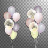 Комплект серебра, сини, зеленого воздушного шара гелия в воздухе Замороженные воздушные шары партии для дизайна события Украшения Стоковая Фотография RF