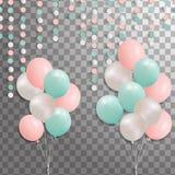 Комплект серебра, сини, зеленого воздушного шара гелия в воздухе Замороженные воздушные шары партии для дизайна события Украшения Стоковые Изображения RF