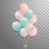Комплект серебра, сини, зеленого воздушного шара гелия в воздухе Замороженные воздушные шары партии для дизайна события Украшения Стоковая Фотография