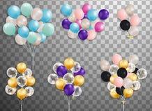 Комплект серебра, сини, зеленого воздушного шара гелия в воздухе Замороженные воздушные шары партии для дизайна события Украшения Стоковые Фотографии RF