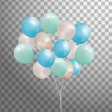 Комплект серебра, сини, зеленого воздушного шара гелия в воздухе Замороженные воздушные шары партии для дизайна события Украшения Стоковое Изображение RF
