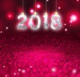 Комплект серебряных сияющих чисел на предпосылке яркого блеска Предпосылка 2018 Нового Года Рождество Стоковые Фото