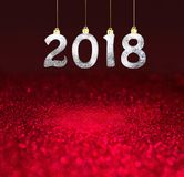 Комплект серебряных сияющих чисел на предпосылке яркого блеска Предпосылка 2018 Нового Года Рождество Стоковая Фотография