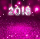 Комплект серебряных сияющих чисел на предпосылке яркого блеска Предпосылка 2018 Нового Года Рождество Стоковые Изображения