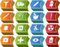 комплект серии иконы кнопки стрелки 3d медицинский Стоковые Фотографии RF