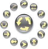 комплект серого цвета 4 кнопок стрелок Стоковое Изображение