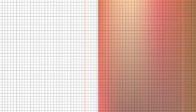 Комплект серой приданной квадратную форму тетради решетки на оранжевой и белой бумаге листа Текстура образования иллюстрация вектора