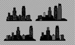 Комплект силуэта города вектора с на прозрачной предпосылкой также вектор иллюстрации притяжки corel иллюстрация штока