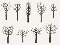 Комплект силуэта дерева иллюстрация штока