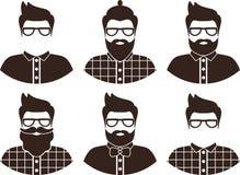 Комплект силуэта человека битника, плоский значок - человек с стеклами, усик и борода, носить в рубашке шотландки и бабочка Стоковые Изображения RF