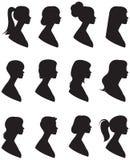 Комплект силуэтов вектора Портрет женщины в профиле с Стоковое Изображение