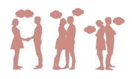 Комплект силуэтов молодых пар - люди и женщины в различной бесплатная иллюстрация