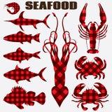 Комплект силуэтов морепродуктов вектора различных стилизованных для меню Стоковое Фото