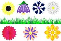 Комплект силуэтов цветков и травы иллюстрация штока