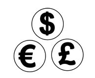 Комплект символов валюты в форме чеканит иллюстрация штока
