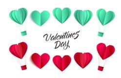 Комплект символов сердца origami валентинок вектора Стоковая Фотография