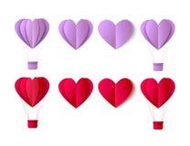 Комплект символов сердца origami валентинок вектора Стоковые Фотографии RF