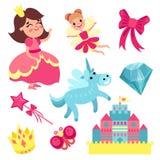 Комплект сказки, маленькая принцесса и фея с единорогом, замком и элементами волшебства vector иллюстрации Стоковые Фото