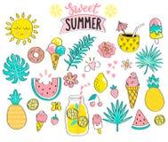 Комплект сладостной элементов лета нарисованных рукой иллюстрация штока