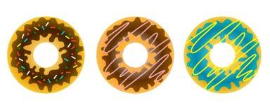 Комплект 3 сладостных взбрызнутых donuts в поливе и deco иллюстрация вектора