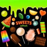Комплект сладостных конфет хеллоуина украшенные элементы Традиционный праздник в октябре Леденец на палочке карамельки свирли век иллюстрация штока