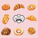 Комплект сладостных печениь и пирожных Значки вектора хлебопекарни иллюстрация штока